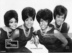 Wanda Young, Gladys Horton, Georgeanna Tillman and Katherine Anderson of The Marvelettes pose for a studio group portrait in 1964 in the United States.