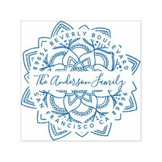 Blue Lotus Mandala Family Name Return Address Self-inking Stamp - typography gifts unique custom diy Lotus Mandala, Mandala Art, Rustic Save The Dates, Address Stamp, Address Labels, Blue Lotus, Wood Stamp, Gift Labels, Mandala Drawing