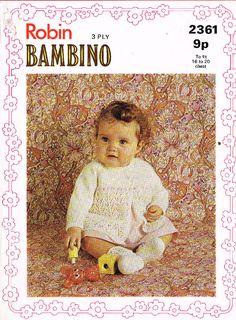 Robin 2361 baby matinee coat  vintage knitting by Ellisadine