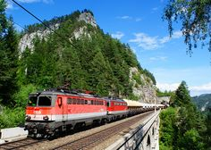 #Semmering Railway (Austria).  'Between Gloggnitz and Mürzzuschlag this line morphs into a picturesque wonderland as the train crosses the Semmering Pass, taking in countless tunnels, viaducts and arched bridges on a forested mountain stretch. Don't miss a hike along the railway line, and then relaxing your muscles in a winter sauna in Semmering.' http://www.lonelyplanet.com/austria/semmering