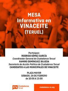 En la Comarca Turolense del Bajo Martín ya se escucha la voz de Ciudadanos C's en la localidad de Vinaceite (Teruel)
