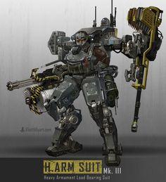 Artist: Eliott Lilly  -  H.ARM SUIT robots  -  https://www.artstation.com/artist/eliottlillyart  -  http://eliottlillyart.deviantart.com/  -  http://conceptartworld.com/?p=5650  -  #EliottLilly
