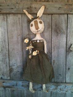 Primitive Folk Art White Rabbit doll with daisy  feedsack fabric easter bunny #BlackFolkArt
