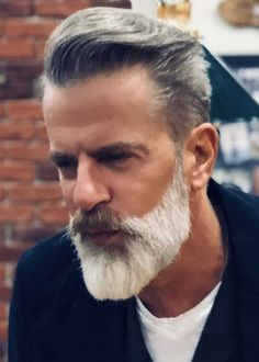 gray hair and beard images at DuckDuckGo Beard Look, Sexy Beard, Beard Styles For Men, Hair And Beard Styles, Mens Hairdresser, Barba Grande, Beard Images, Beard Game, Men With Grey Hair