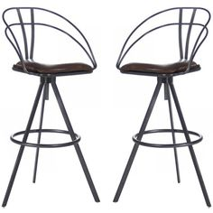 Curved Iron and Leather Bar Stools - Industrial Chic