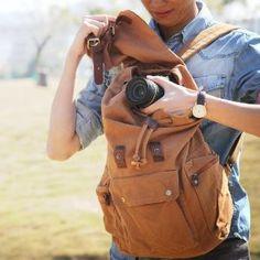 #Canvas Leather Hiking Travel #Camera #Rucksack