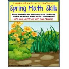 Special Education Spring Math Skills Interactive Center Activities - Spring is in the air!  The PERFECT Spring Interactive Math Center for visual learners.  Available at http://www.AutismEducators.com.