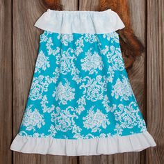 Lolly Wolly Doodle Turquoise White Seesucker Ruffle Neck Dress 6/21