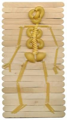 Body Unit Study Art Projects for Kids: Halloween Pasta Skeleton - this would also be good for the skeleton & bones part of our science / human body chapter! School Projects, Projects For Kids, Art Projects, Craft Stick Crafts, Kids Crafts, Craft Sticks, Popsicle Sticks, Craft Ideas, Skeleton Art