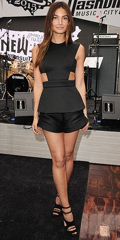 Last Night's Look: Love It or Leave It? | LILY ALRIDGE | in a Cushnie et Ochs top and shorts at a Sports Illustrated 'Swim City' event celebrating the Swimsuit Issue in N.Y.C.