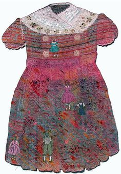Dress shaped quilt and embroidery piece by Val Jackson