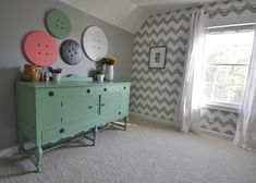 Decor and the Dog Craft Room - love the chevron wall