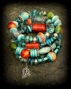 Memory Wire Bracelet Turquoise Tribal Southwest by FishBaySunsets Memory Wire Jewelry, Memory Wire Bracelets, Handmade Bracelets, Jewelry Bracelets, Handmade Jewelry, Necklaces, Beaded Jewelry, Boho Jewellery, Bracelet Tutorial