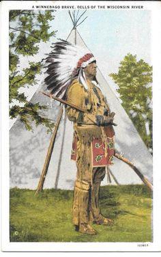 Postcard Native American Indian Winnebago Brave Wisconsin White Border #123857