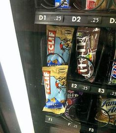 """That's what they get for getting a cliff bar even the machine was like """"fuck that! you did not come to the vending machine to get a cliff bar. no cliff bar for you"""""""