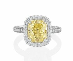 De Beers Diamonds of Character ...  Aura Yellow Cushion Diamond Solitaire Ring ~   oh so divine!