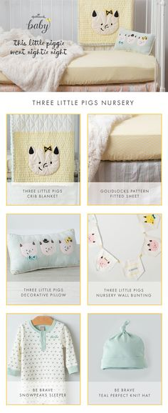 Make baby's nursery perfect with the Three Little Pigs themed nursery decor and set.