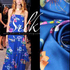 Royal Blue Silk Oriental Fabric Printed Silk by fabricAsians