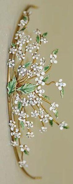 An antique metal, enamel and glass tiara, American, 1910-29. #antique #tiara