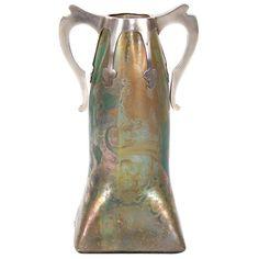 Clement Massier Art Nouveau Period Ceramic Vase with Silver Mount, circa 1900 | 1stdibs.com