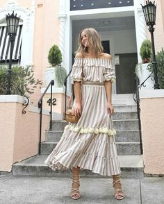 Off Shoulder Maxi Striped Dress Linen dress. Only one size left. Style: Bohemian Decoration: Tassel Waistline: Natural Material: Linen Large only Long Summer Dresses, Dresses For Work, Long Dresses, Striped Sandals, Cool Outfits, Fashion Outfits, Ootd Fashion, Dress Outfits, Maxi Styles