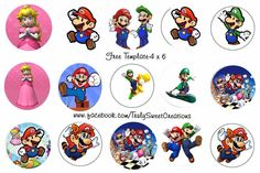 Super Mario Bottle cap images 4x6