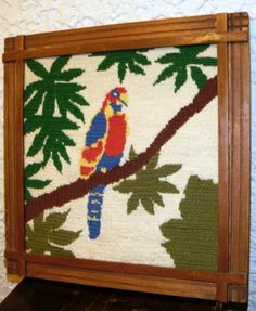Vintage Finished Cross Stitch Parrot Wooden frame Nicely done