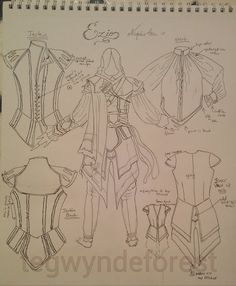 Drawing of costume pattern