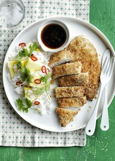 Baked Chicken Cutlets with Pineapple Rice Recipe