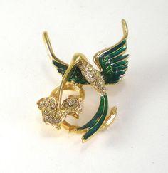 Hummingbird Brooch Pin Green Enamel Clear Rhinestones by paleorama, $18.00