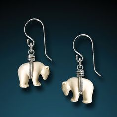 Sterling Silver Zuni Bear Earrings  Hand Carved Bone