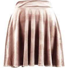 Boohoo Lissa Velvet Full Skater Skirt ($26) ❤ liked on Polyvore featuring skirts, bottoms, pleated maxi skirt, mini skater skirt, flared mini skirt, pleated midi skirts and circle skirt