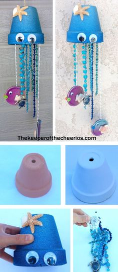 Jellyfish Clay Pot Wind Chime! I love adorable and easy craft- it would be a perfect addition to an ocean unit or just for fun this summer!