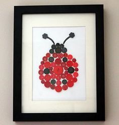 Ladybird Button Art/or thumb print like at the wedding to frame and hang up! Hobbies And Crafts, Fun Crafts, Diy And Crafts, Crafts For Kids, Arts And Crafts, Ladybug Room, Ladybug Nursery, Button Art, Button Crafts