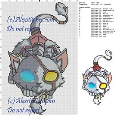Rengar (League of Legends) cross stitch pattern 100x149 18 colors
