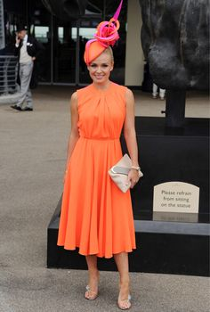 Katherine Jenkins in Roksanda Ilincic's Sessler wool crepe dress - get her look: http://www.harveynichols.com/womens/categories-1/designer-dresses/day/s457544-sessler-two-tone-wool-crepe-dress.html?colour=ORANGE+AND+OTHER