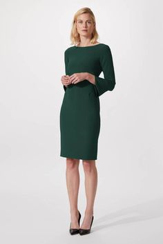 Hamilton Green Navy Dress, Green Dress, Libby London, Best Seasons, Work Wardrobe, Green And Grey, Hamilton, High Neck Dress, Dresses For Work