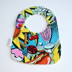 hand made Cotton baby dribble bib(fast food ) £4.50