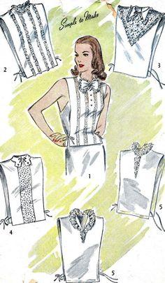 Women's Lace Dickey Shirt Insert Simplicity - - How To Vintage Dress Patterns, Clothing Patterns, Vintage Dresses, Vintage Outfits, 1940s Fashion, Vintage Fashion, 1940s Woman, Retro Mode, Estilo Retro