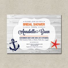Nautical Bridal Shower Invitation Printable by tranquillina, $13.00