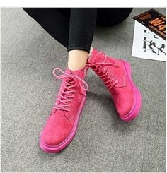 597637bb32 Eissely bluerdream- ladies Autumn winter Flat heel boots platform Thick  lace-up boots women