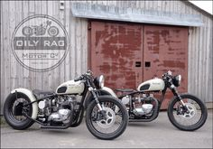 Triumph Twins both bobbers built by Oily Rag Clothing