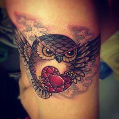 Owl tatoo with my children's birth stone.