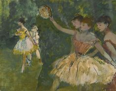 EDGAR DEGAS 1834 - 1917 DANSEUSE AU TAMBOURIN signed Degas (upper right) oil on paper laid down on panel 31.8 by 40cm. Painted in 1883.