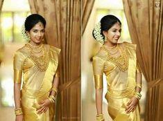 Kanchipuram gold handwoven pure silk saree with zari designed border and pallu South Indian Weddings, South Indian Bride, Indian Bridal, Kerala Wedding Saree, Wedding Sari, Kerala Saree, Wedding Tips, Wedding Bride, Wedding Bouquets