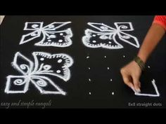 easy flower rangoli designs with 8x8 dots | beginners kolam designs | muggulu designs with dots - YouTube