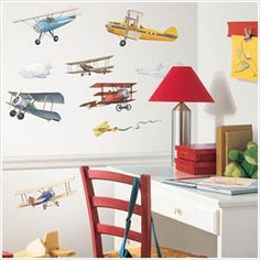 Removable Vintage Airplane Wall Stickers and Borders for Kids Rooms - Vintage Airplanes Peel-and-Stick Applique - Aviation Wall Stickers for Kids Rooms