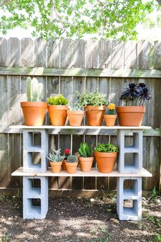Easy Cinder Block Shelves {Perfect for Plants} – Love & Renovations How to build simple cinderblock shelves to hold your plants. A really quick and simple plant stand idea – perfect for herb gardens, succulents, or whatever plants you need a space for! Plant Shelves Outdoor, Garden Shelves, Outdoor Plant Stands, Shelves For Plants, Patio Plants, Outdoor Plants, Outdoor Gardens, Indoor Herbs, Modern Gardens