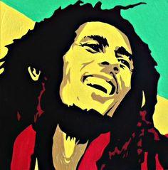 Bob Marley Pop Art Portrait Acrylic On Canvas