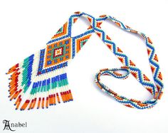 Ethnic Long Beaded Necklace  beadwoven long by Anabel27shop,